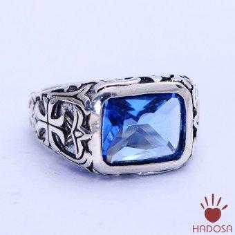 Nhẫn bạc Thái 925 handmade đá Crystal Xanh cho nam
