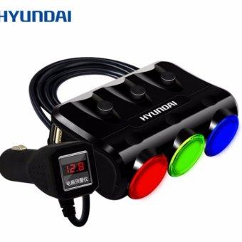 Bộ chia 3 nguồn tẩu thuốc lá trong xe ô tô kèm 2 cổng sạc USB Huyndai cao cấp (Đen)