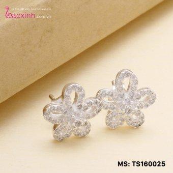 Bông tai nữ trang sức bạc Ý S925 Bạc Xinh - Hoa đẹp TS160025E