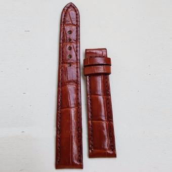 Dây đồng hồ da Cá sấu cao cấp 1 mặt (size 16mm) CS1M (Nâu đỏ)