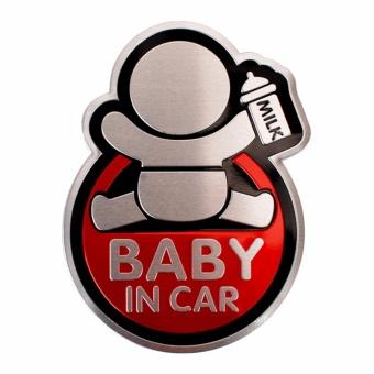 Logo Baby In Car dán xe ôtô (đỏ-cầm bình sữa)