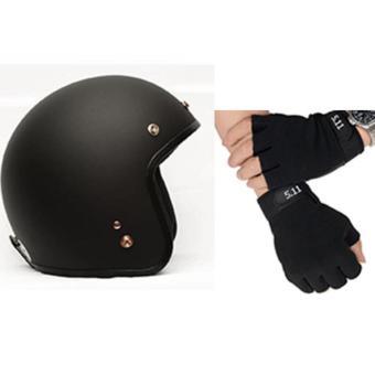 Mũ bảo hiểm 3/4 + kính UV+ găng hở ngón 511 đen
