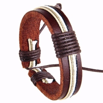 Vòng tay nam dây da handmade dây rút vintage nâu