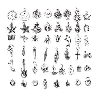 50Pcs Wholesale Bulk Lots Silver Color Mix Pendants Bracelet Jewelry - intl