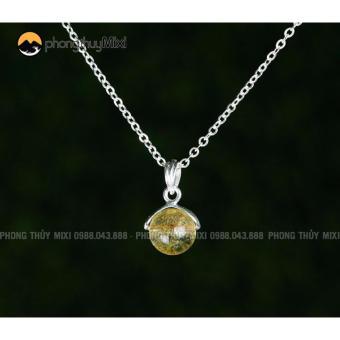 Dây chuyền bạc mặt đá quý thạch anh vàng cho Mệnh Kim-Thổ