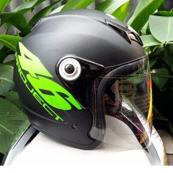 Mũ Bảo Hiểm Moto Trùm Đầu Số 46 Kính Trắng Trong (Xanh Lá)