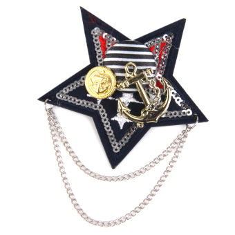 BolehDeals Military Chain Army Star Brooches Brooch Pin Party Costume Men's Accessory - intl