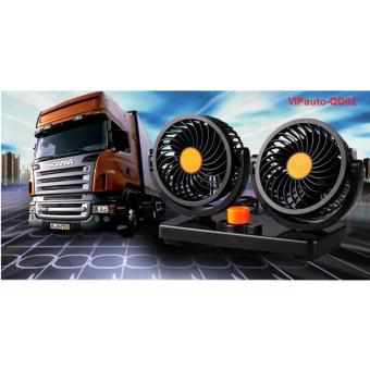 Quạt điện đôi mini xoay 360 độ dùng điện 12V trên xe tải VIPauto-QĐ02
