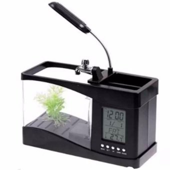 Bể cá mini kiêm đồng hồ để bàn (đen)