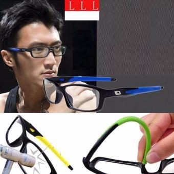 Mắt kính nam Unisex gỏng dẻo thể thao kiêm bảo vệ mắt+ Tặng bao da H182 (Đen xanh)