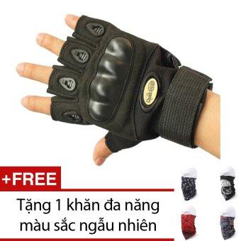 Găng tay nửa ngón QuickCell Biker (Đen) + Tặng 1 khăn đa năng màu sắc ngẫu nhiên