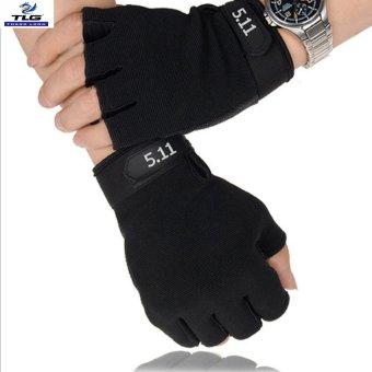 Găng tay hở ngón thể thao, lái xe size XL (Đen)