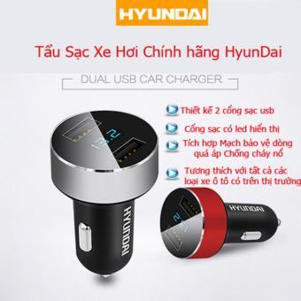 Tẩu sạc ô tô Huyndai 2 cổng USB có đèn led hiển thị