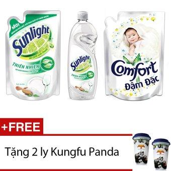 Mua Bộ chăm sóc da size nhỏ 1 Nước xả Comfort cho da nhạy cảm 1.6L+1 Sunlight Rửa Chén trà trắng chai 750g + 1Sunlight Rửa Chéntràtrắng túi 750g + Tặng 2 ly Kungfu Panda giá tốt nhất