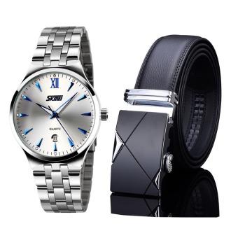 Bộ đôi đồng hồ Dây thép không gỉ Skmei 9071 và thắt lưng da TG001