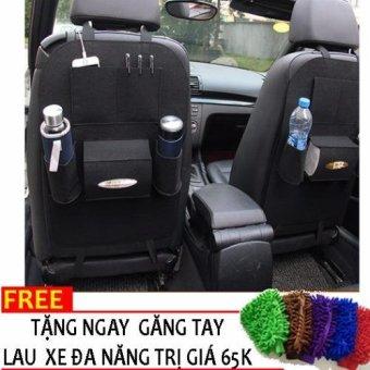 Bao ghế ô tô để đồ loại 1+ Tặng găng tay lau xe đa năng H89 (Đen)