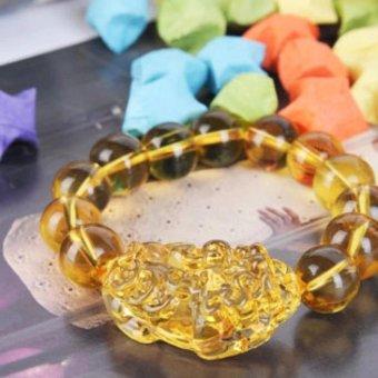 Vòng tay Tỳ Hưu đá tự nhiên may mắn MDL-VT2322 ( vàng)