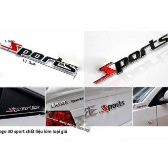 Tem chữ Sports kim loại dán ô tô TL09( đỏ phối đen)