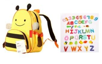 Ba lô hình thú cho bé+ Bộ nam châm 26 chữ cái (Ong vàng)