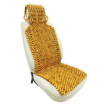 Lót ghế ô tô hạt gỗ pơ-mu đặc biệt A có gối đầu ADT (Vàng Nâu)