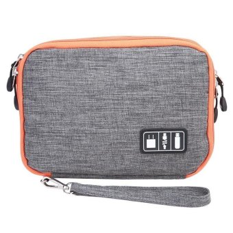 LALANG Waterproof Double Layer Travel Digital Storage Bag Electronic Accessories Pouch Organizer L (Grey) - intl