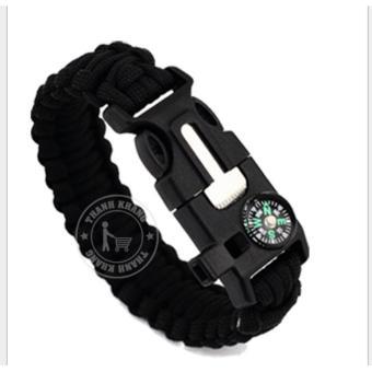 Vòng đeo tay đa năng Thanh Khang dành cho phượt thủ có la bàn + chức năng đánh lửa (Màu đen)