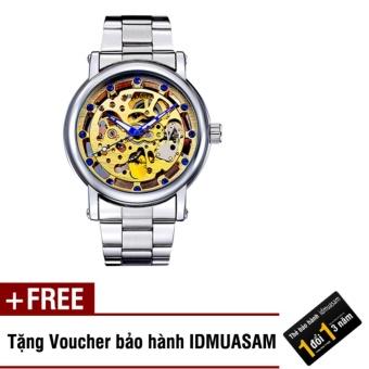 Đồng hồ nam cơ tự động dây thép không gỉ IDMUASAM 4611 (Mặt vàng) + Tặng kèm voucher bảo hành IDMUASAM