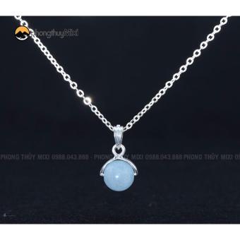 Dây chuyền bạc mặt đá phong thủy Aquamarine cho người mệnh Thủy và mệnh Mộc