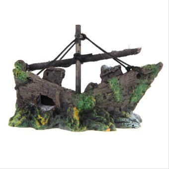 Aquarium Ornament Sailing Boat Sunk Ship Destroyer Fish Tank Cave Decor - Intl