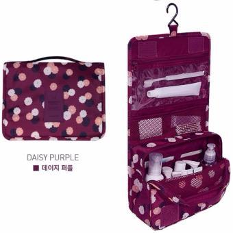 Túi đựng đồ du lịch cá nhân đa năng có móc treo phong cách Hàn Quốc (Tím, nền hoa)