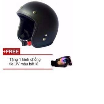 Mũ bảo hiểm 3/4 đầu phượt thủ (Tặng 1 kính chống tia UV màu bất kì
