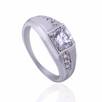 New White Gold Plated Rectangle Emerald Cut CZ Diamond Wedding Ring 18MM - intl