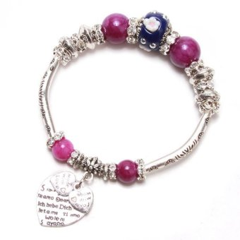 LALANG Women Heart Charm Bracelets Beads Alloy Jewelry Antique Silver Purple - Intl