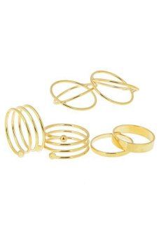 Bluelans Urban Gold Stack Plain Band Midi Ring Above Knuckle Ring 6Pcs Size US 6 - Intl