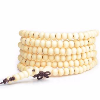 Vòng chuỗi hạt đeo tay nữ 216 hạt gỗ loại 6mm trắng thời trang