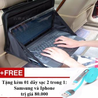 Bàn làm việc, Bàn Laptop, Cặp đựng đa năng trên ô tô + Tặng 01 dây sạc điện thoại 2 trong 1 cho Iphone và Samsung