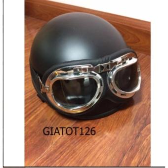 Mũ bảo hiểm 1/2 đầu đen nhám + kính chống tia uv kiểu chuồn chuồn