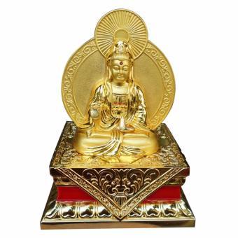 Tượng phật bà quan âm vàng ánh kim ngồi bệ vàng QAAK03