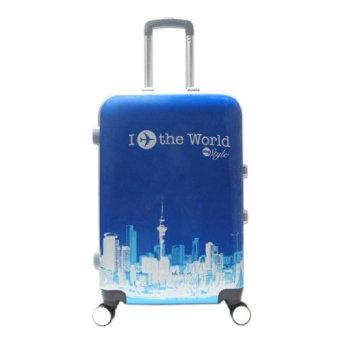 Vali kéo du lịch nhựa hình khung cứng I Fly The World size trung 6 tấc Xanh TA055