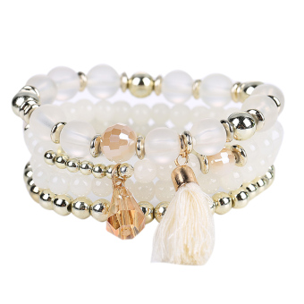 Woman Multilayer Bracelet Beads Coin Tassel Bracelets (White) - intl
