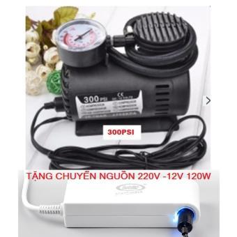 Bơm lốp xe ô tô chuyên dụng 300PSI- 12V + Chuyển nguồn 220v -12v chuẩn 120w cao cấp.