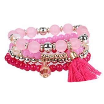 Woman Multilayer Bracelet Beads Coin Tassel Bracelets (Pink) - intl
