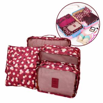 Bộ 6 túi đựng đồ du lịch cao cấp siêu tiện ích (hoa đỏ)
