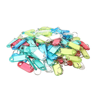 100 Pcs Colorful Clear Plastic Key Tags ID Label with Key Chain Tag Card Split Ring