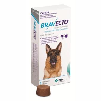 Thuốc phòng trị ghẻ, rận tai, ve, bọ chét và viêm da trên chó: 1 viên BRAVECTO large (chó 20-40 kg)