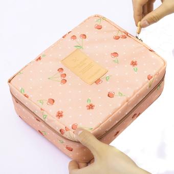 Túi đựng mỹ phẩm Cherry nhiều ngăn chống thấm (hồng nhạt)