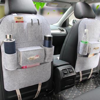 Túi yếm đựng đồ 6 ngăn sau ghế xe hơi, ô tô LOẠI 1 kiêm bảo vệ ghế cao cấp H89-XÁM
