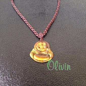 Mặt dây chuyền Phật di lặc Đá Mắt Hổ tự nhiên + tặng kèm dây phong cách Paracord