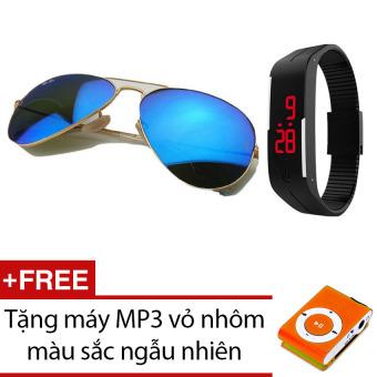 Bộ kính mát Unisex tráng gương + Đồng hồ led kiểu dáng thể thao + Tặng máy nghe nhạc MP3 vỏ nhôm màu sắc ngẫu nhiên