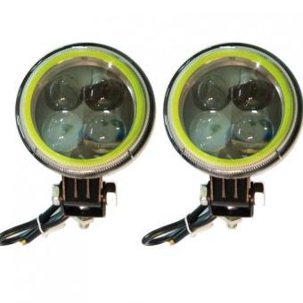 Bộ 2 Đèn cản mini 4 mắt mèo 3 chế độ 8cm diametter (viền xanh dương) 12VDC